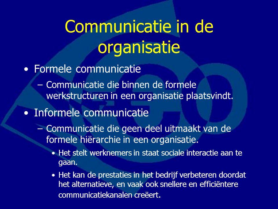 Communicatie in de organisatie Formele communicatie –Communicatie die binnen de formele werkstructuren in een organisatie plaatsvindt. Informele commu