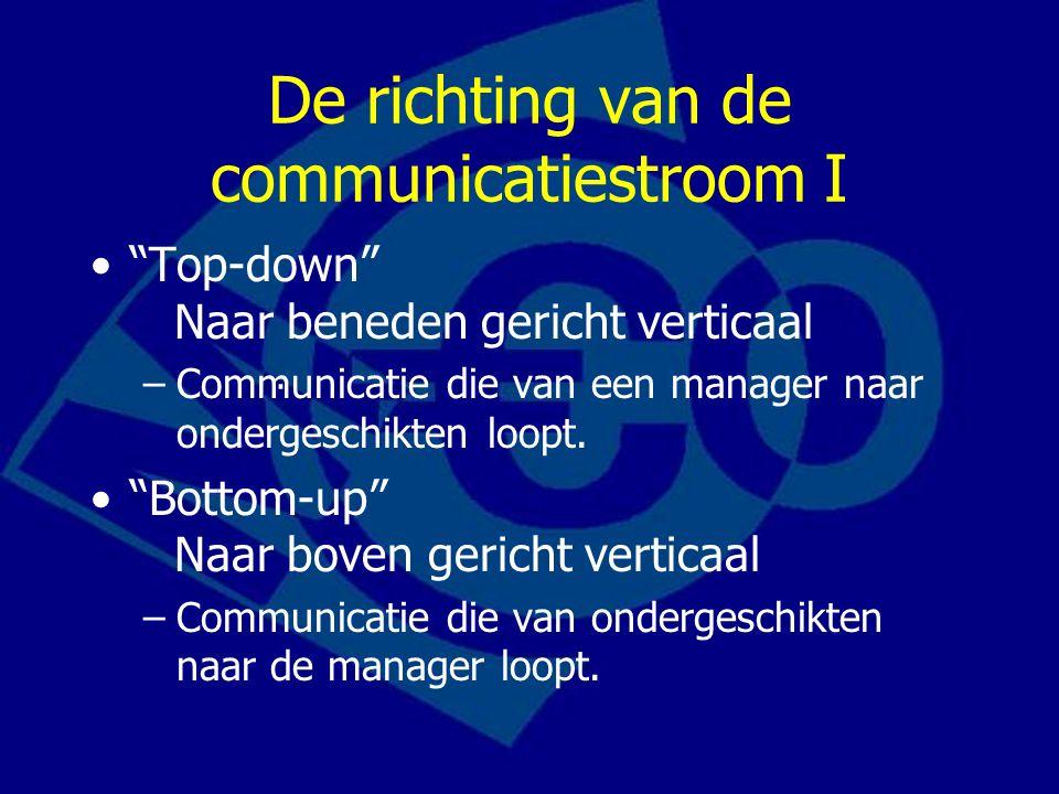 """De richting van de communicatiestroom I """"Top-down"""" Naar beneden gericht verticaal –Communicatie die van een manager naar ondergeschikten loopt. """"Botto"""