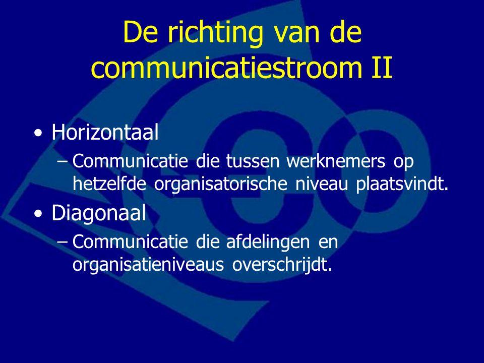 De richting van de communicatiestroom II Horizontaal –Communicatie die tussen werknemers op hetzelfde organisatorische niveau plaatsvindt. Diagonaal –