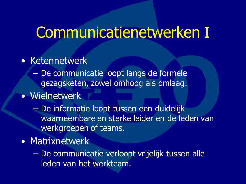 Communicatienetwerken I Ketennetwerk –De communicatie loopt langs de formele gezagsketen, zowel omhoog als omlaag. Wielnetwerk –De informatie loopt tu