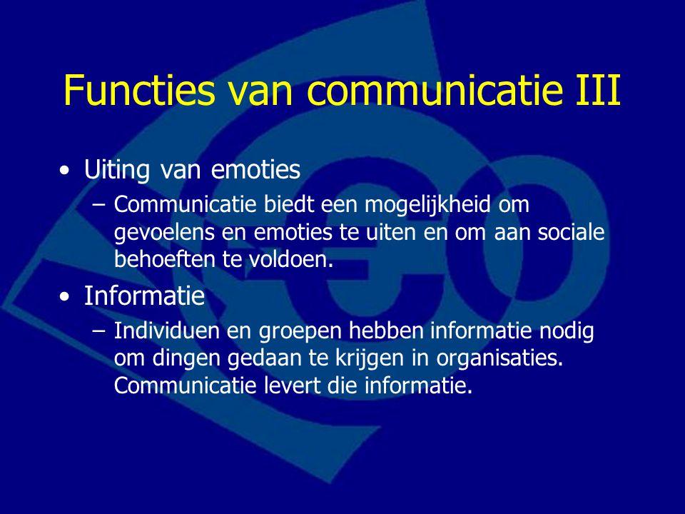 Functies van communicatie III Uiting van emoties –Communicatie biedt een mogelijkheid om gevoelens en emoties te uiten en om aan sociale behoeften te