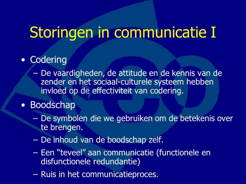 Storingen in communicatie I Codering –De vaardigheden, de attitude en de kennis van de zender en het sociaal-culturele systeem hebben invloed op de ef