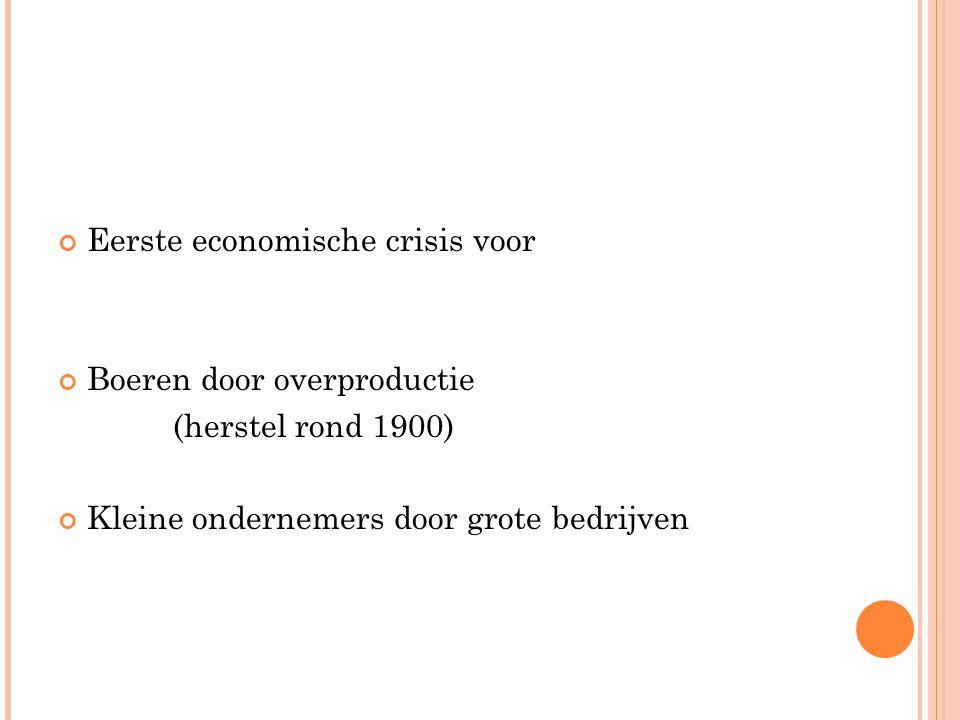 Eerste economische crisis voor Boeren door overproductie (herstel rond 1900) Kleine ondernemers door grote bedrijven