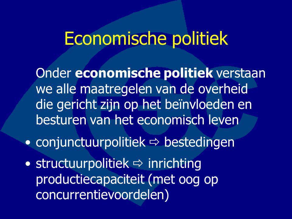 Economische politiek Onder economische politiek verstaan we alle maatregelen van de overheid die gericht zijn op het beïnvloeden en besturen van het economisch leven conjunctuurpolitiek  bestedingen structuurpolitiek  inrichting productiecapaciteit (met oog op concurrentievoordelen)