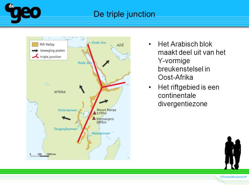 De triple junction Het Arabisch blok maakt deel uit van het Y-vormige breukenstelsel in Oost-Afrika Het riftgebied is een continentale divergentiezone