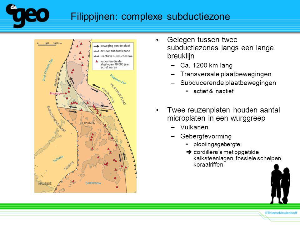 Filippijnen: complexe subductiezone Gelegen tussen twee subductiezones langs een lange breuklijn –Ca. 1200 km lang –Transversale plaatbewegingen –Subd