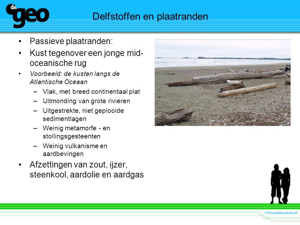 Delfstoffen en plaatranden Passieve plaatranden: Kust tegenover een jonge mid- oceanische rug Voorbeeld: de kusten langs de Atlantische Oceaan –Vlak,