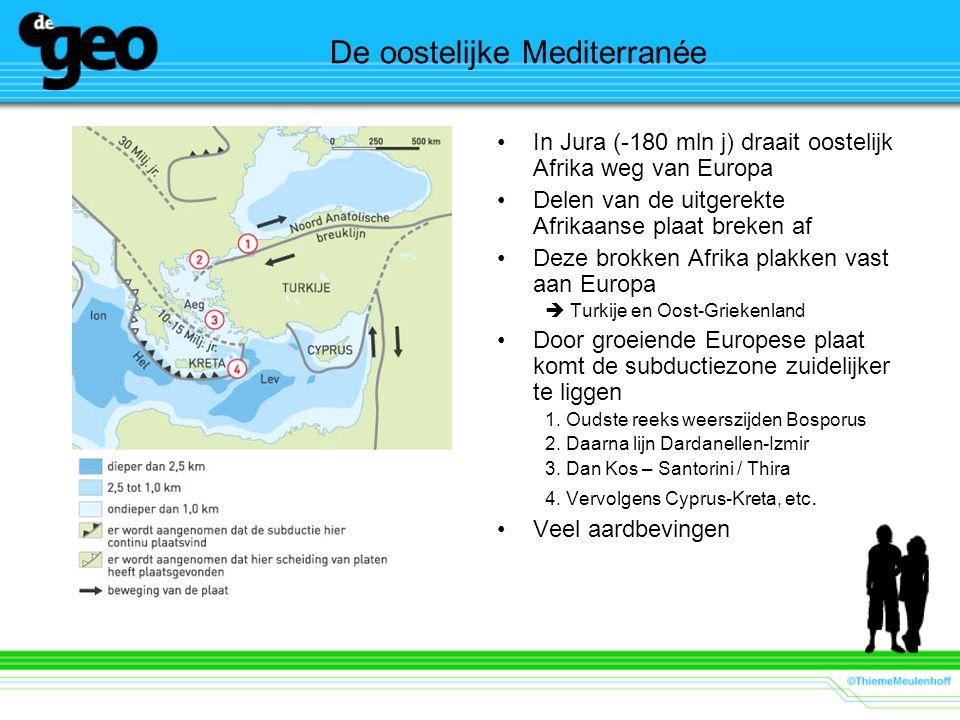 De oostelijke Mediterranée In Jura (-180 mln j) draait oostelijk Afrika weg van Europa Delen van de uitgerekte Afrikaanse plaat breken af Deze brokken