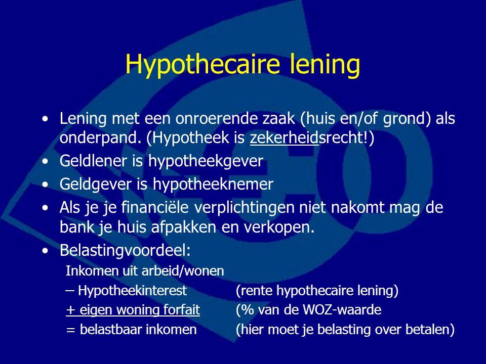 Hypothecaire lening Lening met een onroerende zaak (huis en/of grond) als onderpand. (Hypotheek is zekerheidsrecht!) Geldlener is hypotheekgever Geldg