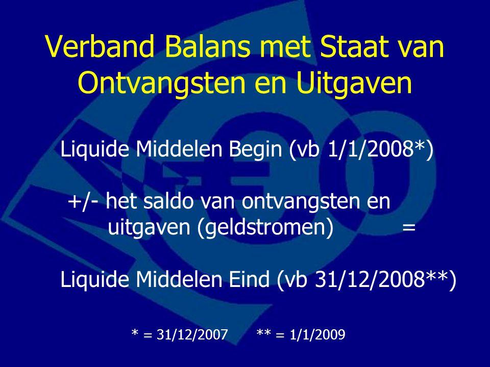 Verband Balans met Staat van Ontvangsten en Uitgaven Liquide Middelen Begin (vb 1/1/2008*) +/- het saldo van ontvangsten en uitgaven (geldstromen) = L
