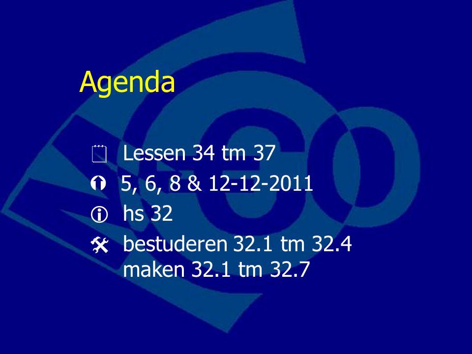 Agenda  Lessen 34 tm 37  5, 6, 8 & 12-12-2011  hs 32  bestuderen 32.1 tm 32.4 maken 32.1 tm 32.7
