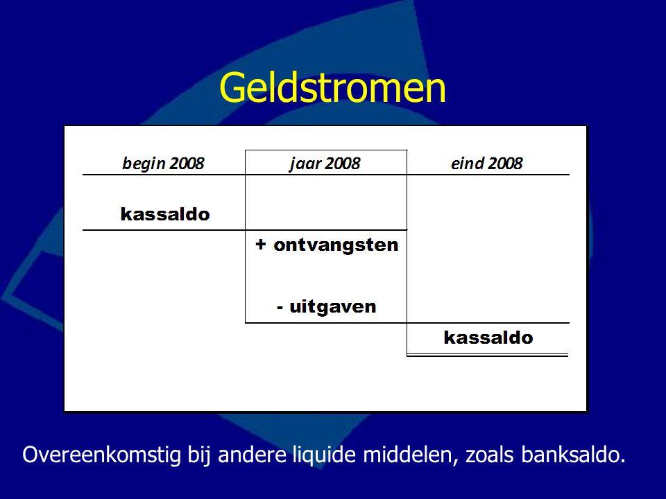 Geldstromen Overeenkomstig bij andere liquide middelen, zoals banksaldo.