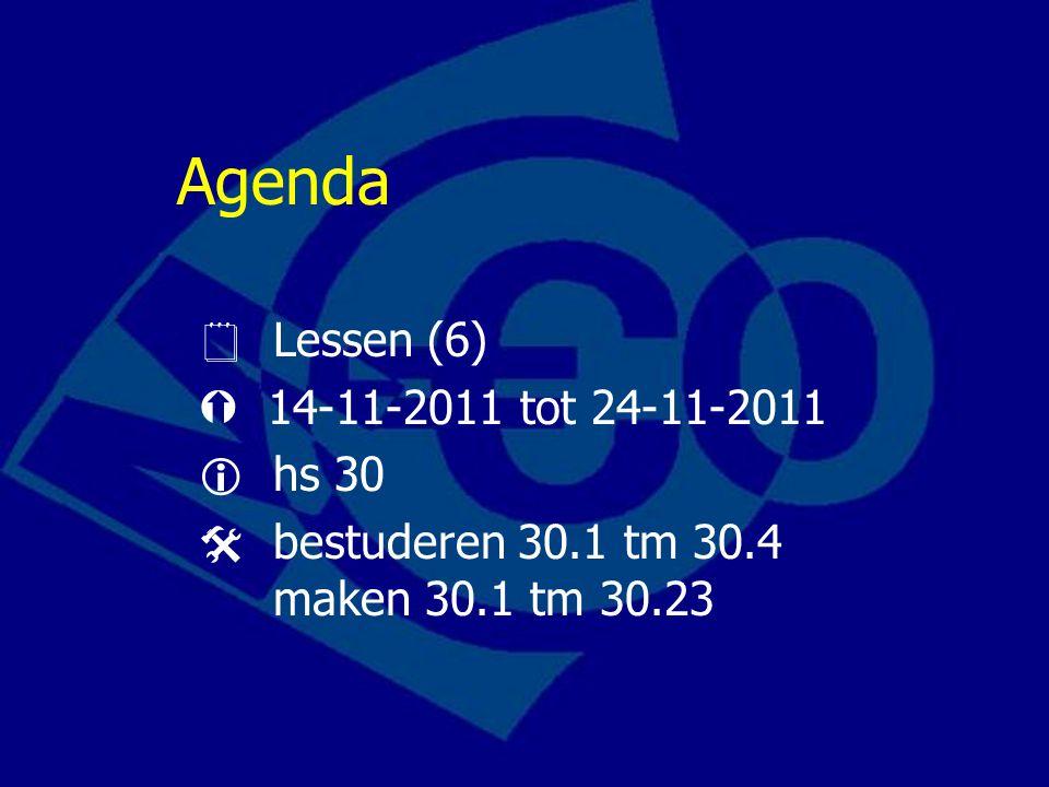 Agenda  Lessen (6)  14-11-2011 tot 24-11-2011  hs 30  bestuderen 30.1 tm 30.4 maken 30.1 tm 30.23
