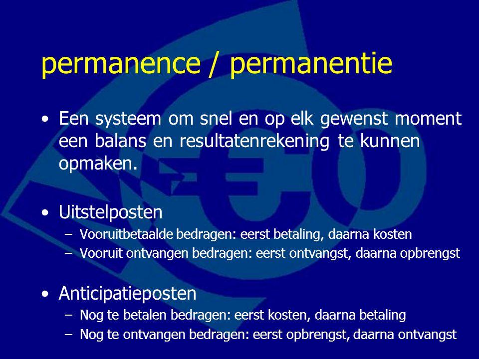 permanence / permanentie Een systeem om snel en op elk gewenst moment een balans en resultatenrekening te kunnen opmaken. Uitstelposten –Vooruitbetaal