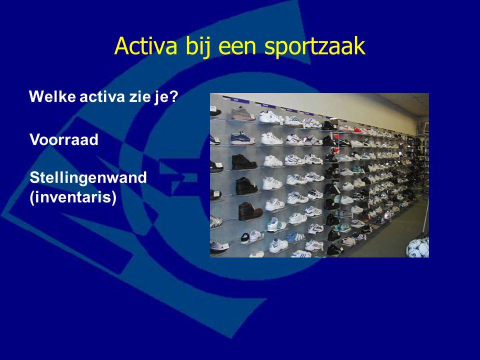 Activa bij een sportzaak Welke activa zie je? Voorraad Stellingenwand (inventaris)