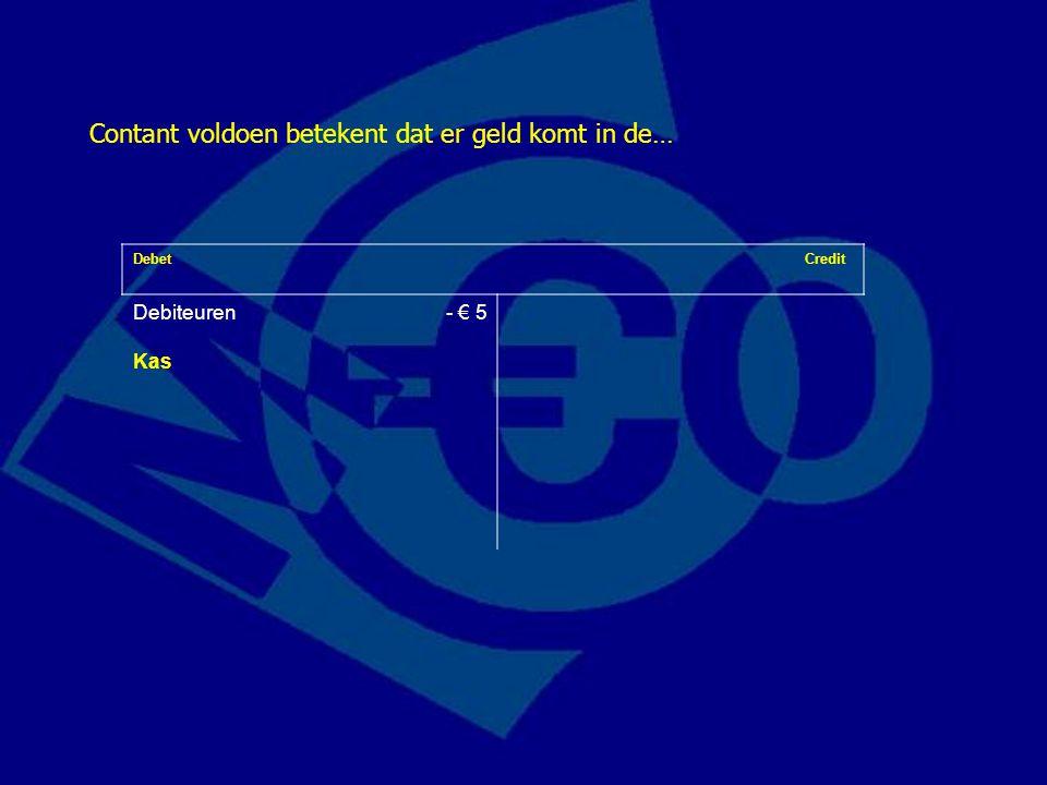 Debet Credit Debiteuren- € 5 Kas Contant voldoen betekent dat er geld komt in de…