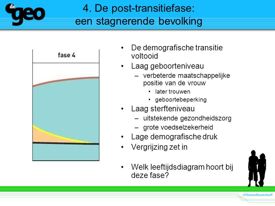 4. De post-transitiefase: een stagnerende bevolking De demografische transitie voltooid Laag geboorteniveau –verbeterde maatschappelijke positie van d