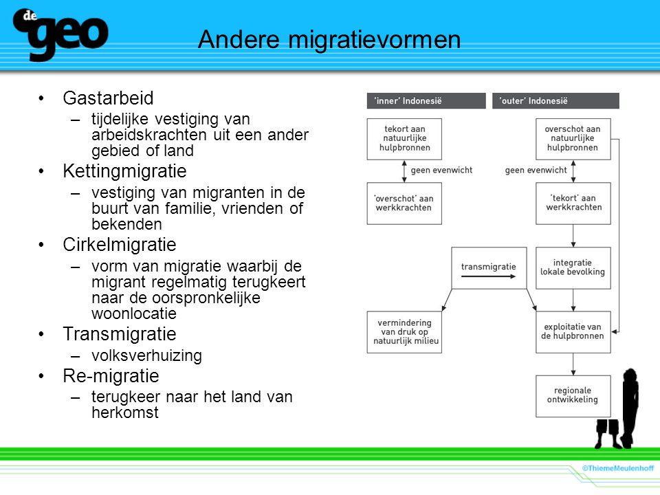 Andere migratievormen Gastarbeid –tijdelijke vestiging van arbeidskrachten uit een ander gebied of land Kettingmigratie –vestiging van migranten in de