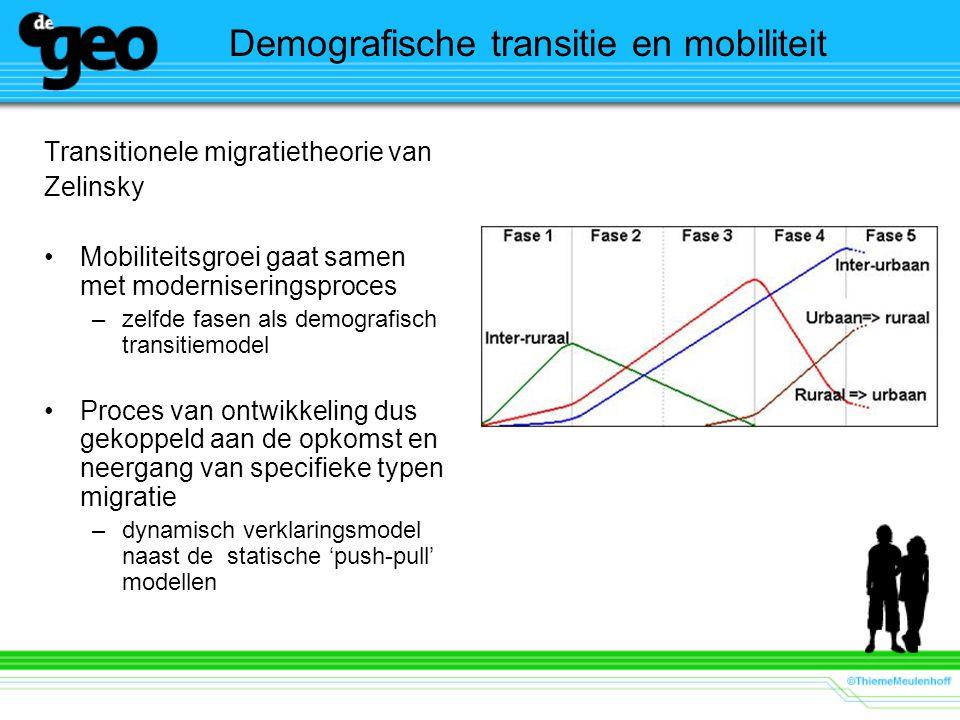 Demografische transitie en mobiliteit Transitionele migratietheorie van Zelinsky Mobiliteitsgroei gaat samen met moderniseringsproces –zelfde fasen als demografisch transitiemodel Proces van ontwikkeling dus gekoppeld aan de opkomst en neergang van specifieke typen migratie –dynamisch verklaringsmodel naast de statische 'push-pull' modellen