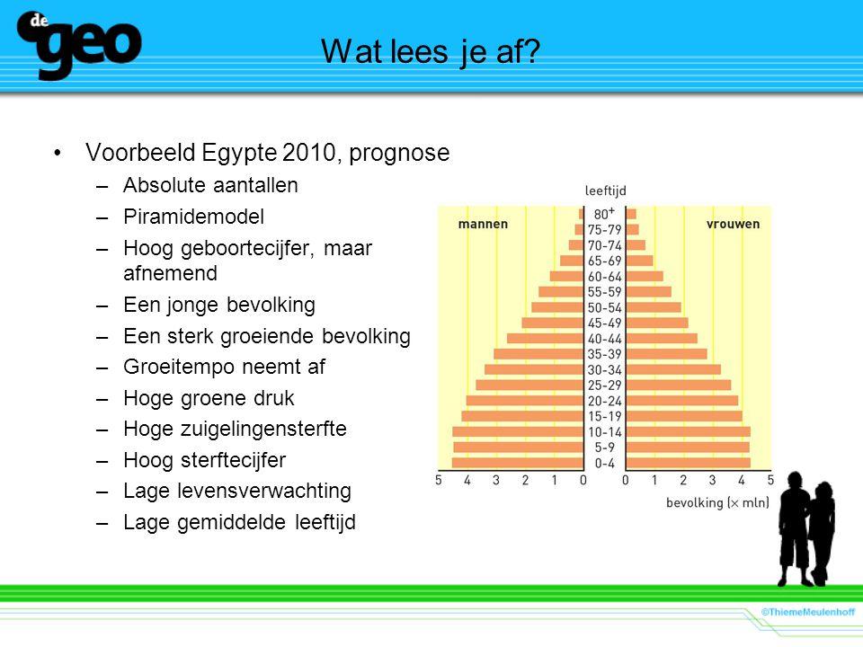 Wat lees je af? Voorbeeld Egypte 2010, prognose –Absolute aantallen –Piramidemodel –Hoog geboortecijfer, maar afnemend –Een jonge bevolking –Een sterk
