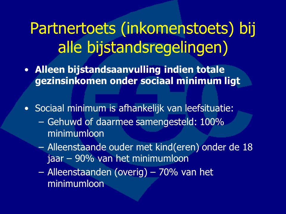 Partnertoets (inkomenstoets) bij alle bijstandsregelingen) Alleen bijstandsaanvulling indien totale gezinsinkomen onder sociaal minimum ligt Sociaal m