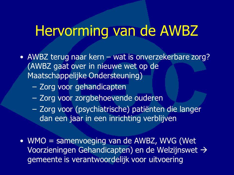 Hervorming van de AWBZ AWBZ terug naar kern – wat is onverzekerbare zorg? (AWBZ gaat over in nieuwe wet op de Maatschappelijke Ondersteuning) –Zorg vo