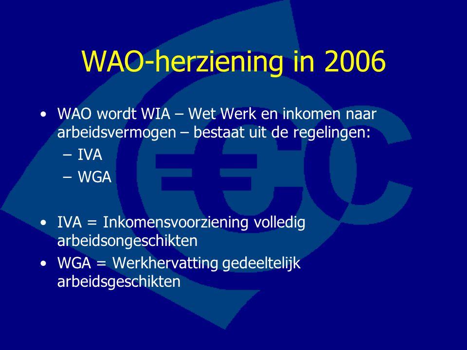 WAO-herziening in 2006 WAO wordt WIA – Wet Werk en inkomen naar arbeidsvermogen – bestaat uit de regelingen: –IVA –WGA IVA = Inkomensvoorziening volle