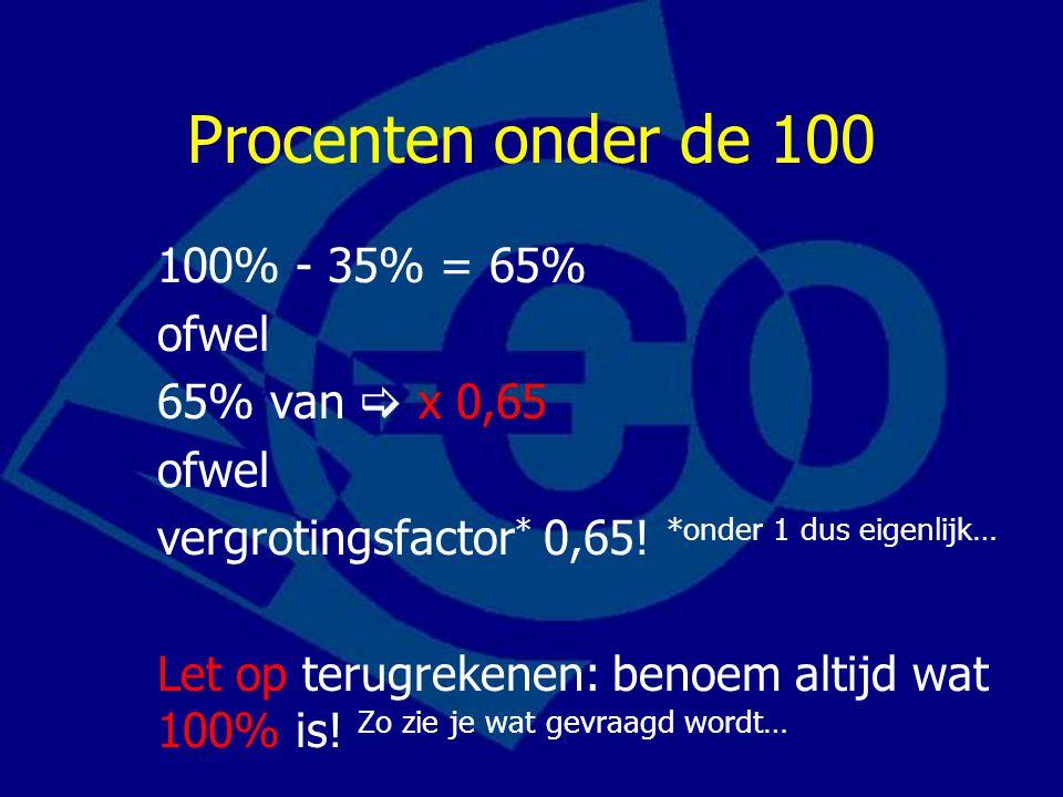 Procenten onder de 100 100% - 35% = 65% ofwel 65% van  x 0,65 ofwel vergrotingsfactor * 0,65.