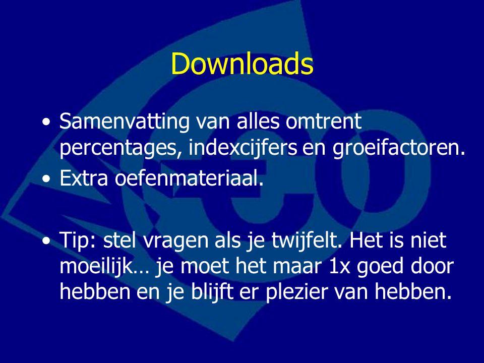 Downloads Samenvatting van alles omtrent percentages, indexcijfers en groeifactoren.
