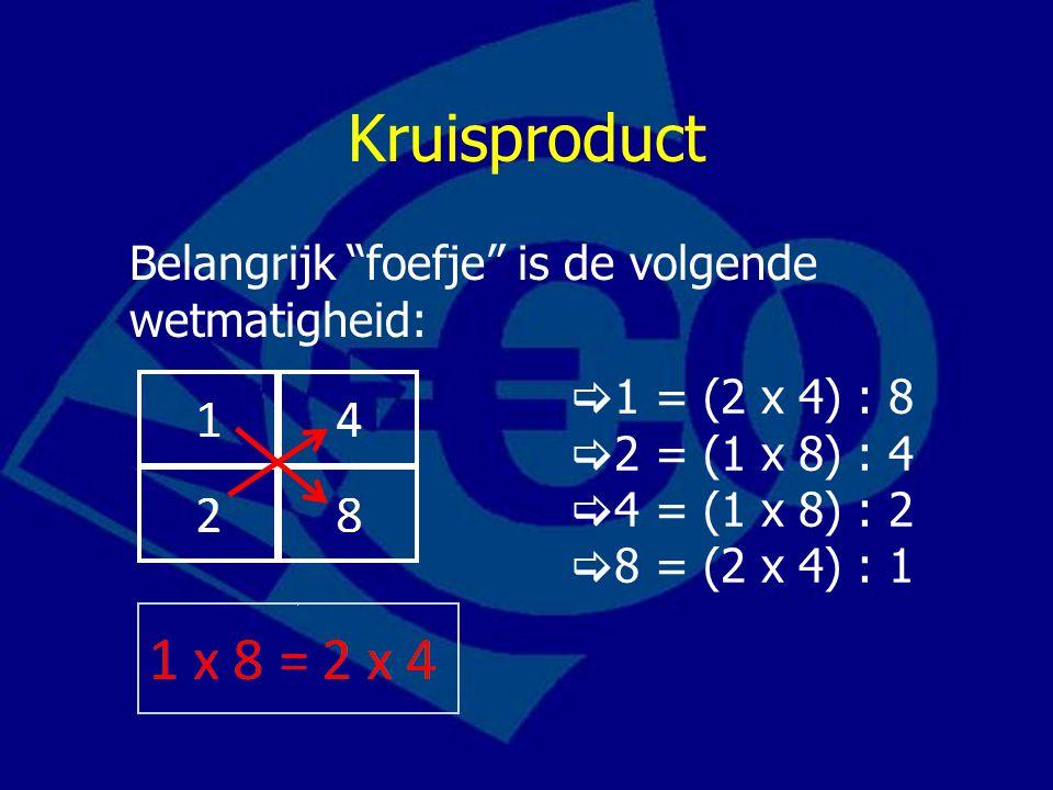 Kruisproduct Belangrijk foefje is de volgende wetmatigheid:  1 = (2 x 4) : 8  2 = (1 x 8) : 4  4 = (1 x 8) : 2  8 = (2 x 4) : 1
