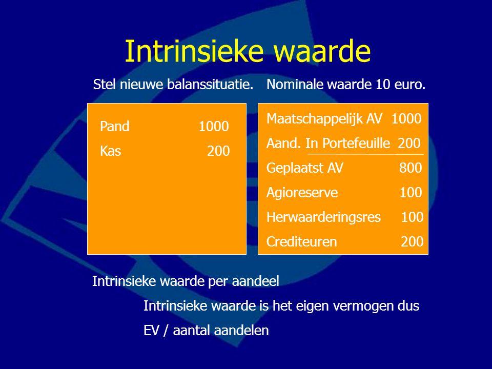 Maatschappelijk AV 1000 Aand. In Portefeuille 200 Geplaatst AV 800 Agioreserve 100 Herwaarderingsres 100 Crediteuren 200 Pand1000 Kas 200 Stel nieuwe