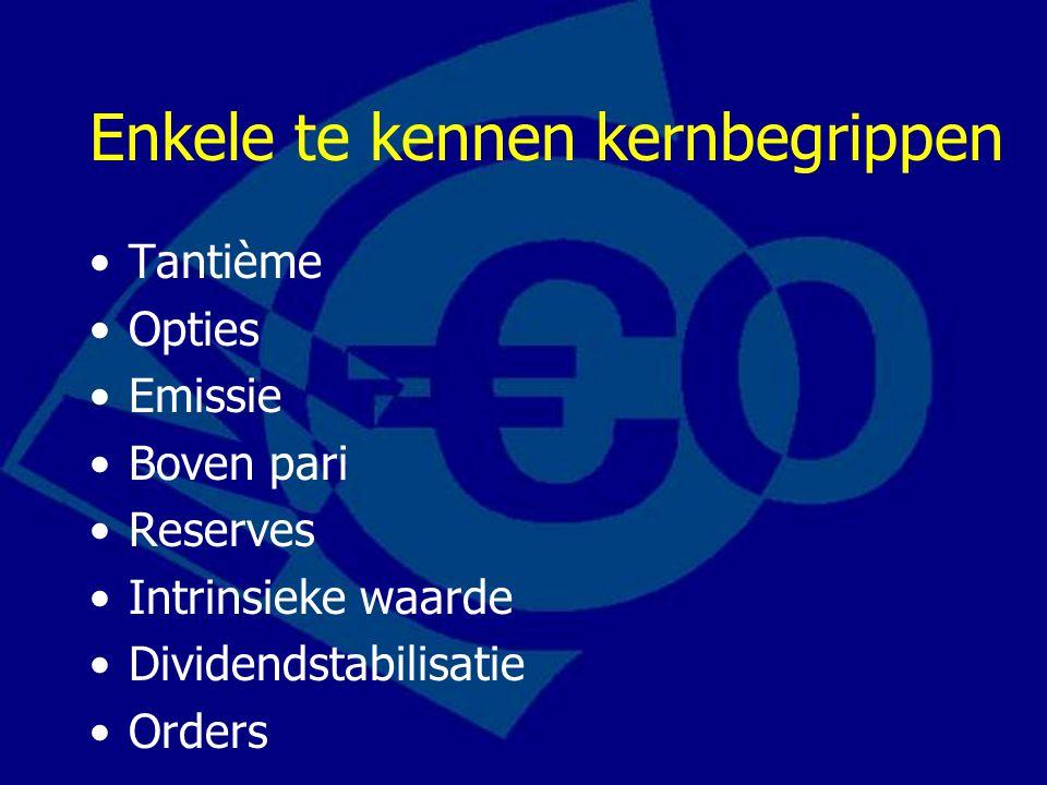 Enkele te kennen kernbegrippen Tantième Opties Emissie Boven pari Reserves Intrinsieke waarde Dividendstabilisatie Orders