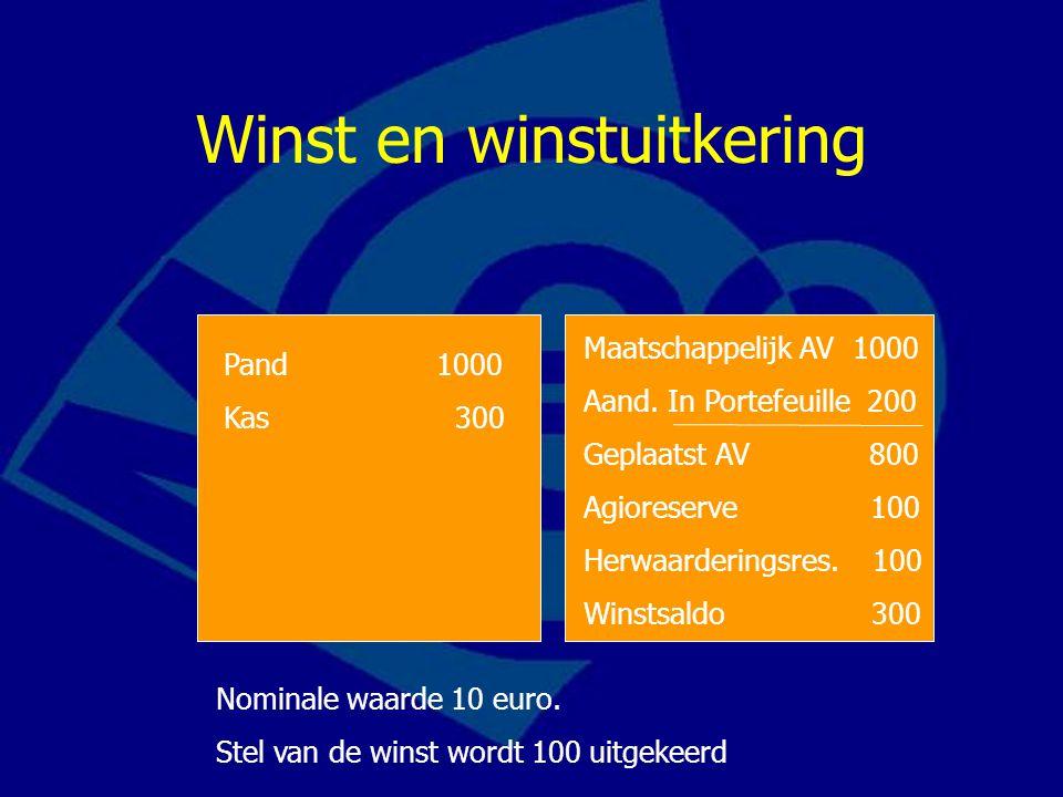 Winst en winstuitkering Maatschappelijk AV 1000 Aand.