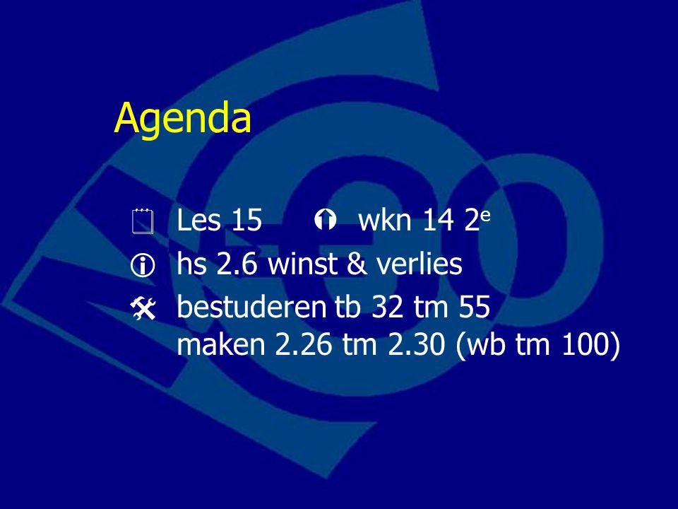 Agenda  Les 15  wkn 14 2 e  hs 2.6 winst & verlies  bestuderen tb 32 tm 55 maken 2.26 tm 2.30 (wb tm 100)