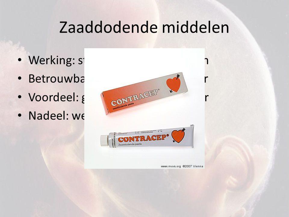 Zaaddodende middelen Werking: stoffen doden zaadcellen Betrouwbaarheid: onbetrouwbaar Voordeel: gemakkelijk verkrijgbaar Nadeel: werking duurt kort