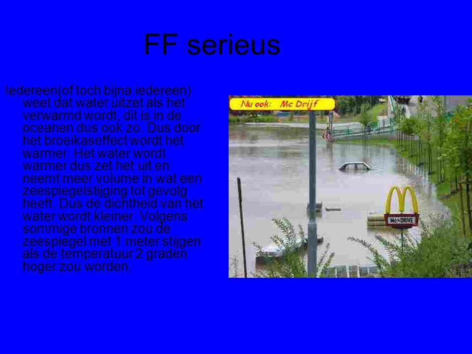 FF serieus Iedereen(of toch bijna iedereen) weet dat water uitzet als het verwarmd wordt, dit is in de oceanen dus ook zo. Dus door het broeikaseffect