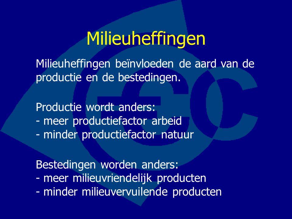 Milieuheffingen Milieuheffingen beïnvloeden de aard van de productie en de bestedingen. Productie wordt anders: - meer productiefactor arbeid - minder