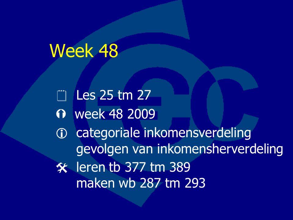 Week 48  Les 25 tm 27  week 48 2009  categoriale inkomensverdeling gevolgen van inkomensherverdeling  leren tb 377 tm 389 maken wb 287 tm 293