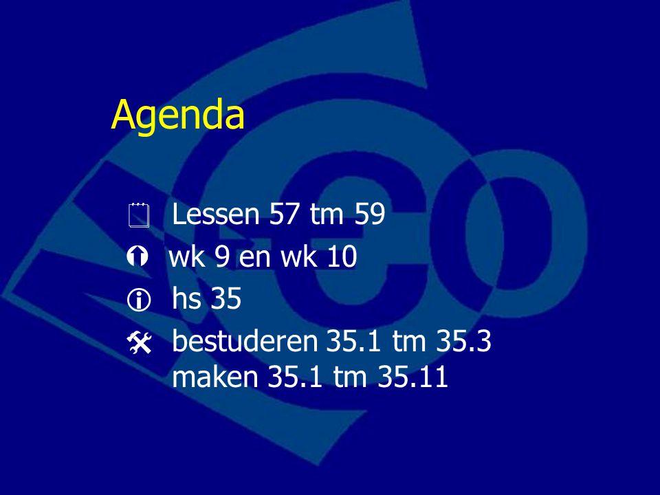 Agenda  Lessen 57 tm 59  wk 9 en wk 10  hs 35  bestuderen 35.1 tm 35.3 maken 35.1 tm 35.11