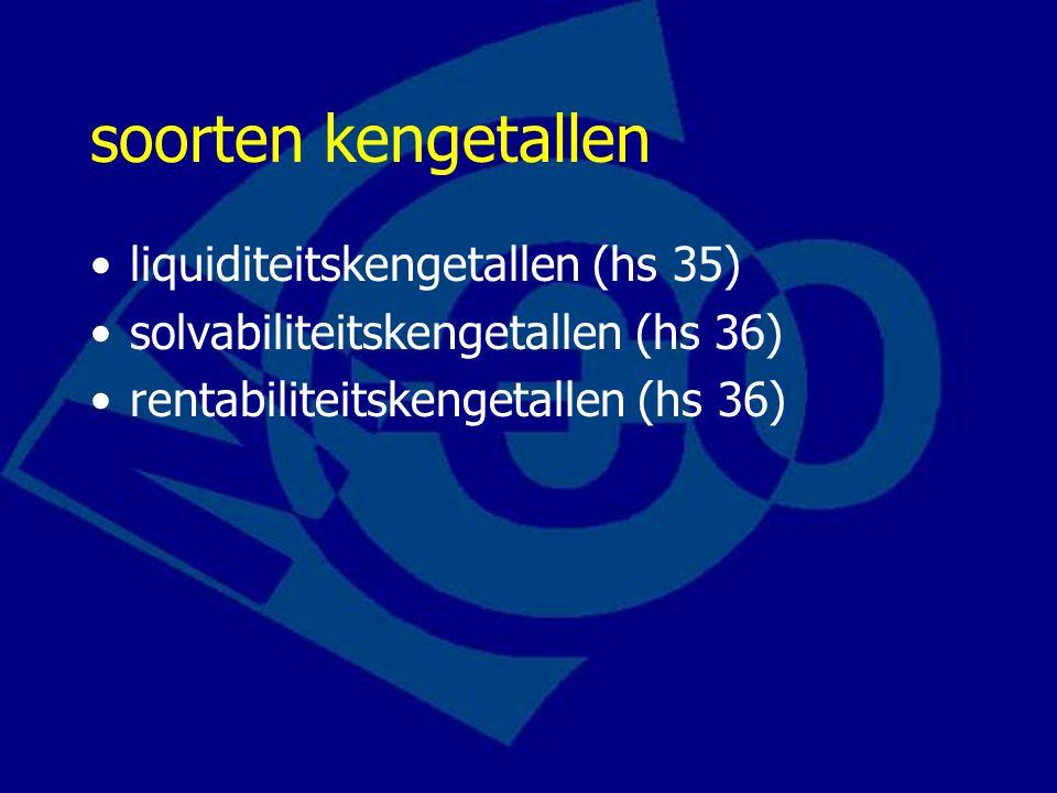 soorten kengetallen liquiditeitskengetallen (hs 35) solvabiliteitskengetallen (hs 36) rentabiliteitskengetallen (hs 36)