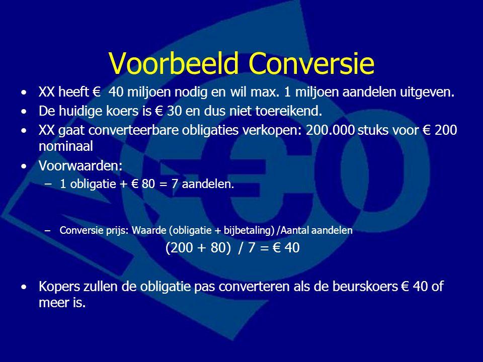 Voorbeeld Conversie XX heeft € 40 miljoen nodig en wil max. 1 miljoen aandelen uitgeven. De huidige koers is € 30 en dus niet toereikend. XX gaat conv