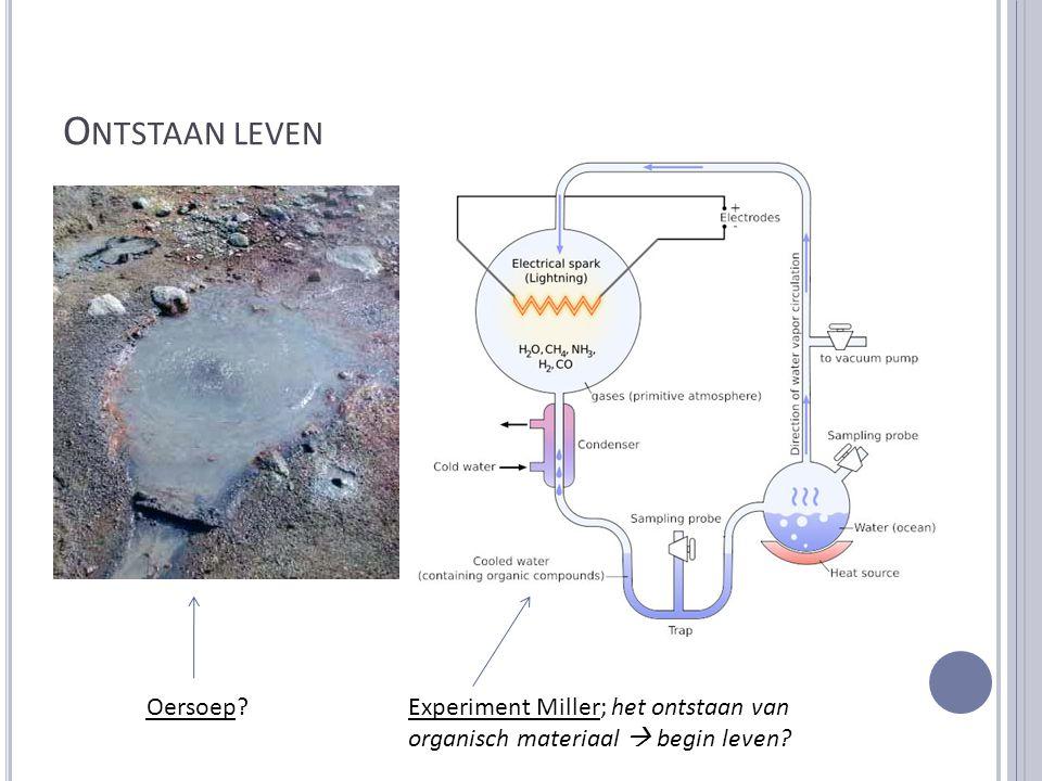 O NTSTAAN LEVEN Oersoep?Experiment Miller; het ontstaan van organisch materiaal  begin leven?