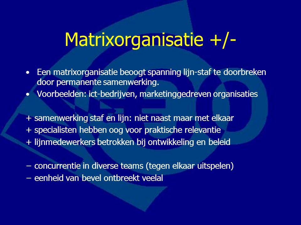 Matrixorganisatie +/- Een matrixorganisatie beoogt spanning lijn-staf te doorbreken door permanente samenwerking.