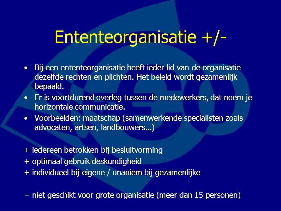 Ententeorganisatie +/- Bij een ententeorganisatie heeft ieder lid van de organisatie dezelfde rechten en plichten.