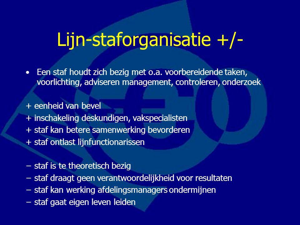 Lijn-staforganisatie +/- Een staf houdt zich bezig met o.a.