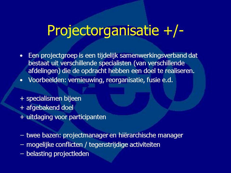 Projectorganisatie +/- Een projectgroep is een tijdelijk samenwerkingsverband dat bestaat uit verschillende specialisten (van verschillende afdelingen) die de opdracht hebben een doel te realiseren.