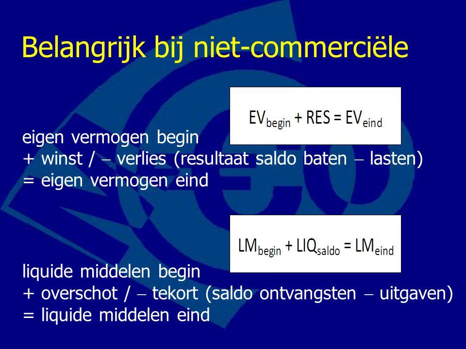 Belangrijk bij niet-commerciële eigen vermogen begin + winst /  verlies (resultaat saldo baten  lasten) = eigen vermogen eind liquide middelen begin