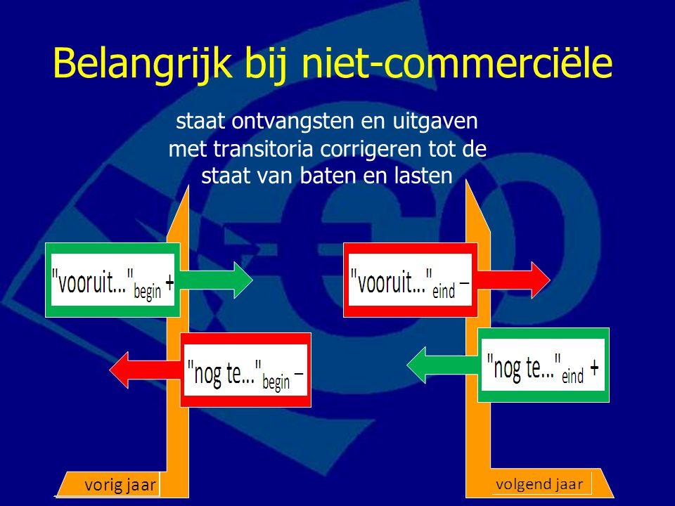 Belangrijk bij niet-commerciële staat ontvangsten en uitgaven met transitoria corrigeren tot de staat van baten en lasten