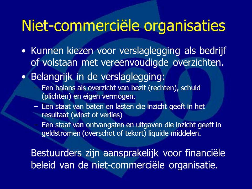 Niet-commerciële organisaties Kunnen kiezen voor verslaglegging als bedrijf of volstaan met vereenvoudigde overzichten. Belangrijk in de verslagleggin
