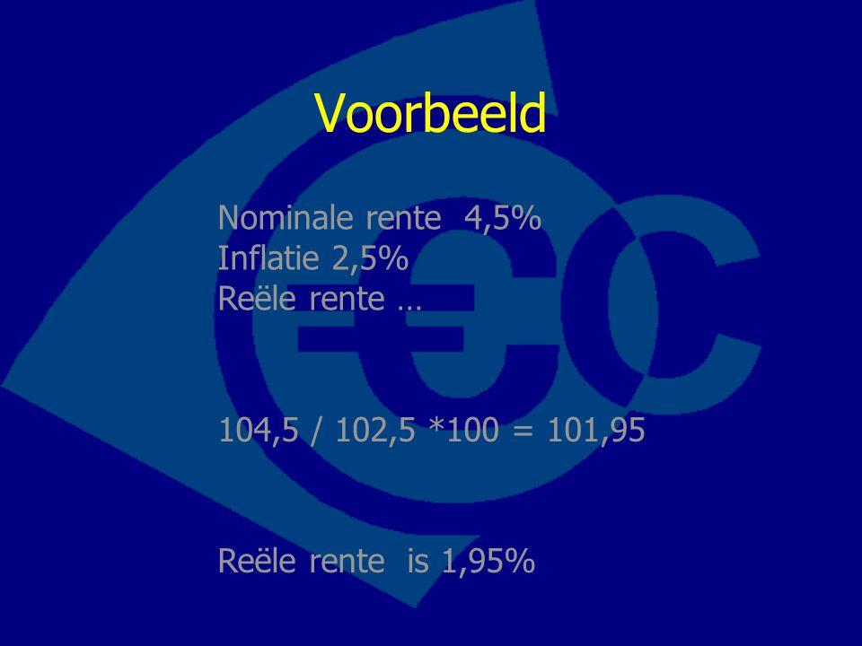 Voorbeeld Nominale rente 4,5% Inflatie 2,5% Reële rente … 104,5 / 102,5 *100 = 101,95 Reële rente is 1,95%